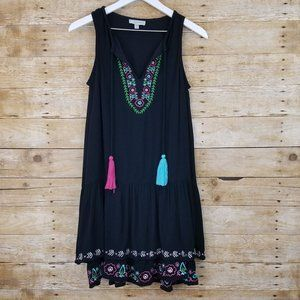 Daisy Fuentes Black Embroidered Tiered Dress (XS)